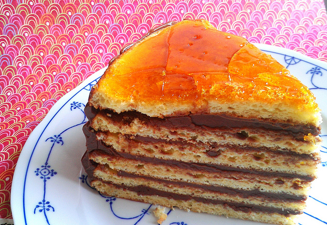 Stacked Crepe Cake with Caramel Sauce