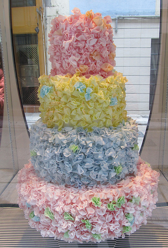 Frilled, Colorful Wedding Cake