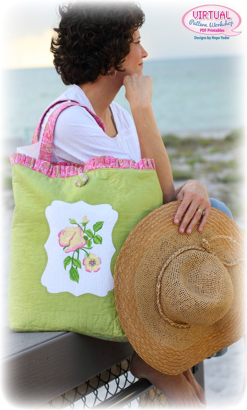 Machine Embroidered Beach Bag