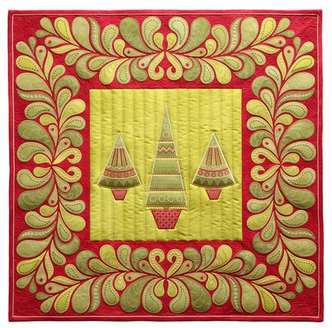 Free Motion Quilted Wall Hanging with Embroidery