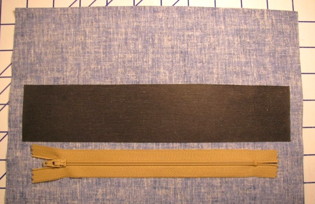 Zipper Lined up with Interfacing