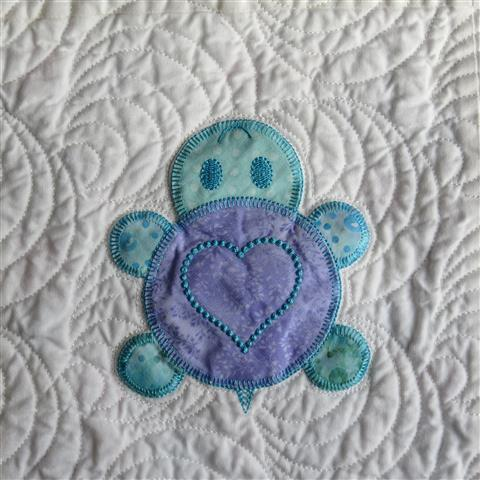 Quilt Featuring Machine Embroidered Turtle