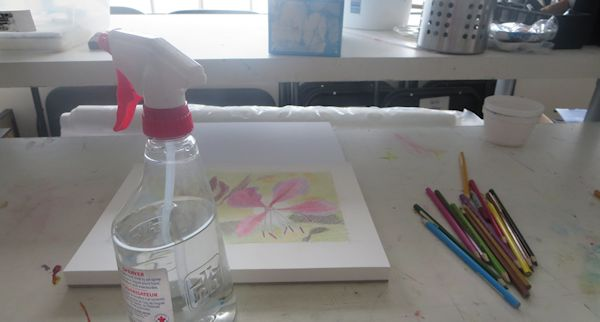 Spraying Watercolor Pencil Work with Water