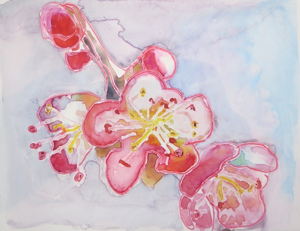 Watercolor of Flower, on Yupo Paper