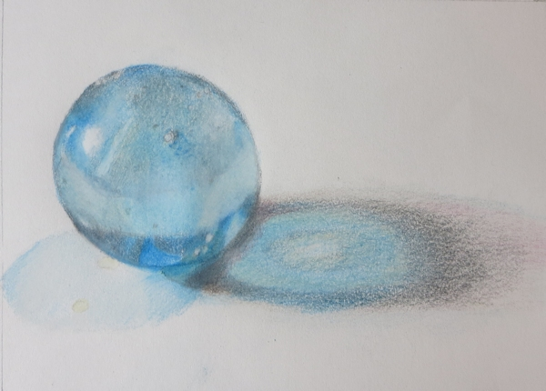 Finished Drawing of Marble - Drawing with Colored Pencils on Bluprint