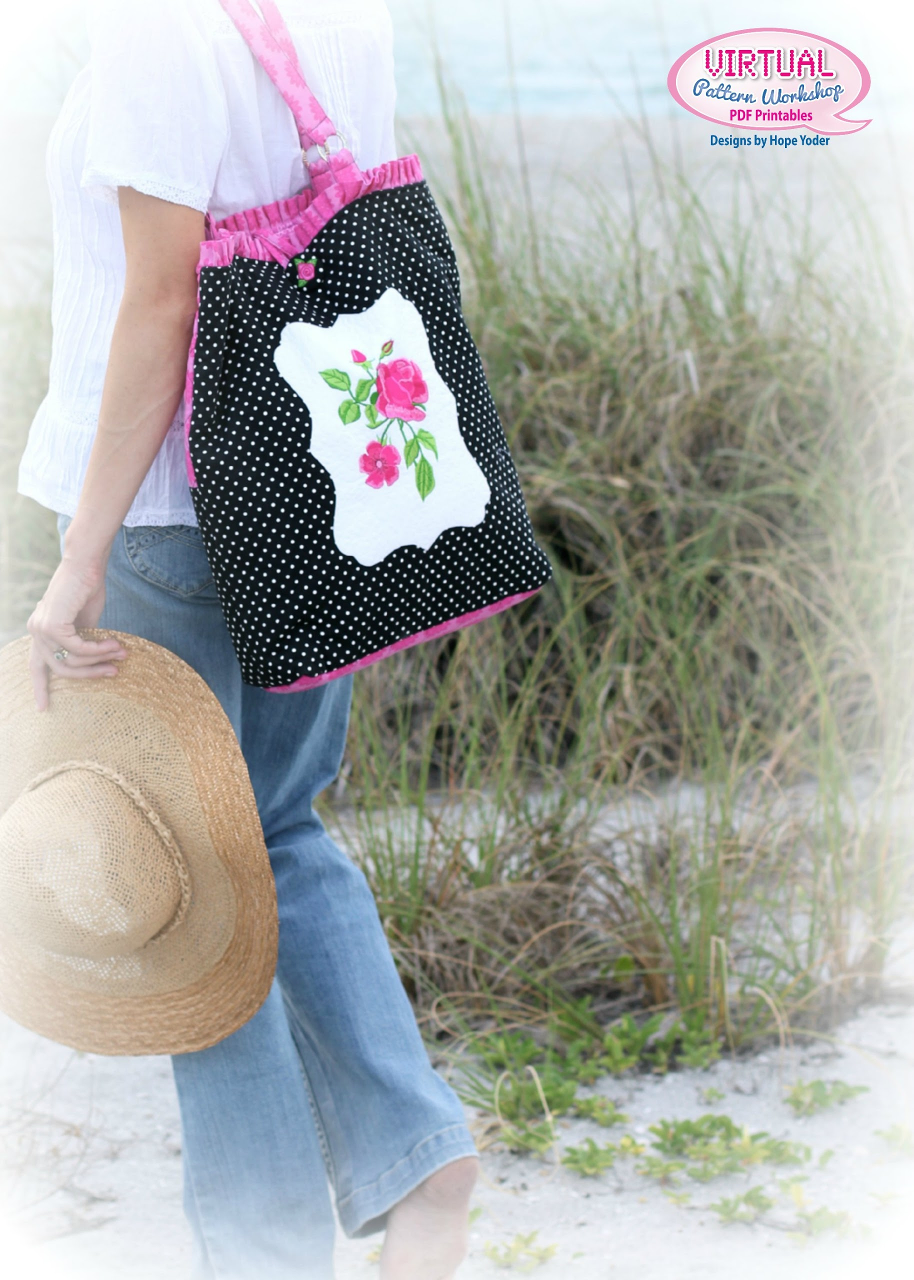 Floral Machine Embroidered Beach Bag