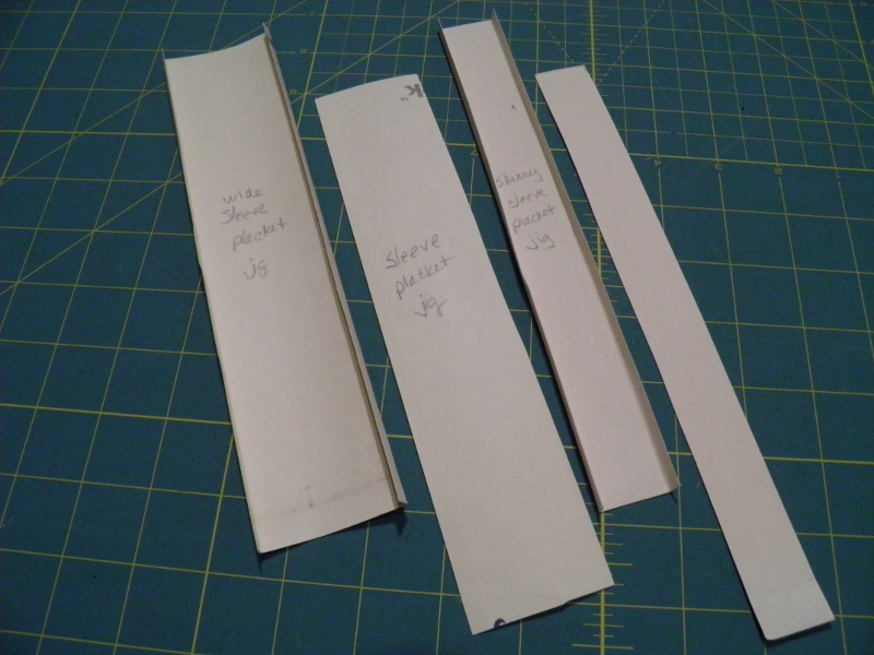 Cardboard templates for shirt plackets