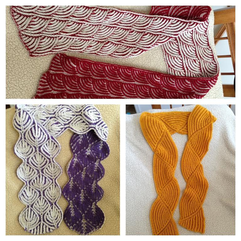 Brioche knit scarves