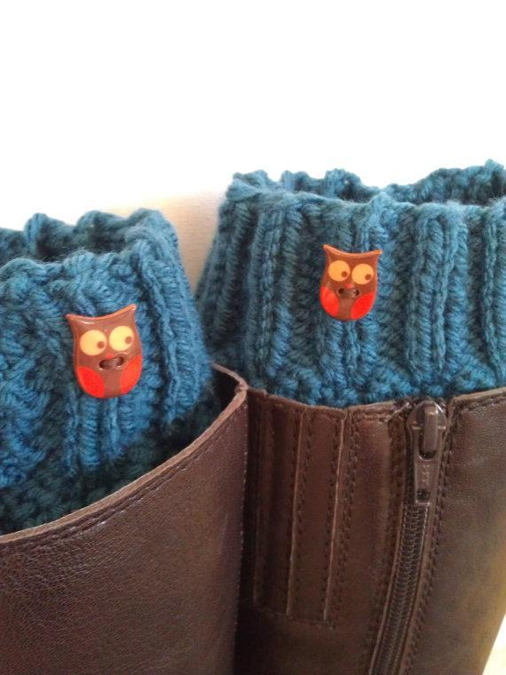 Knitted boot cuffs with owl
