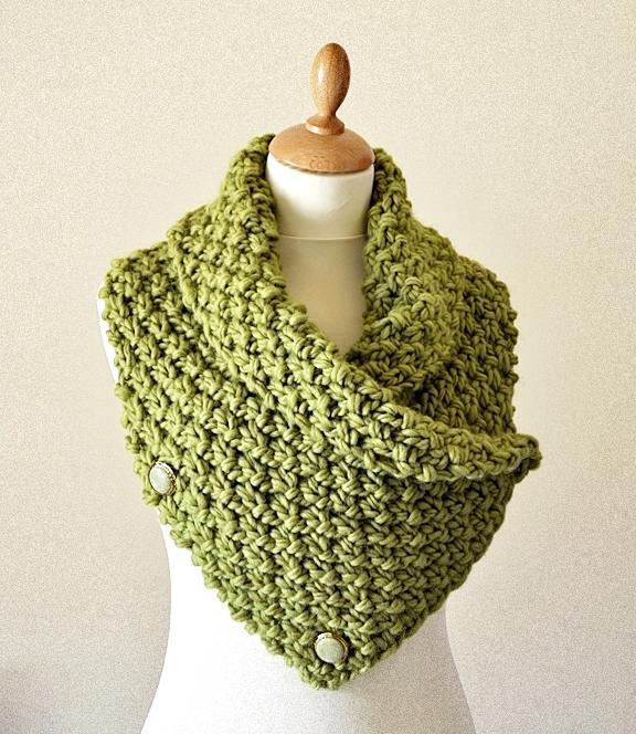 Chunky knit neckwarmer cowl