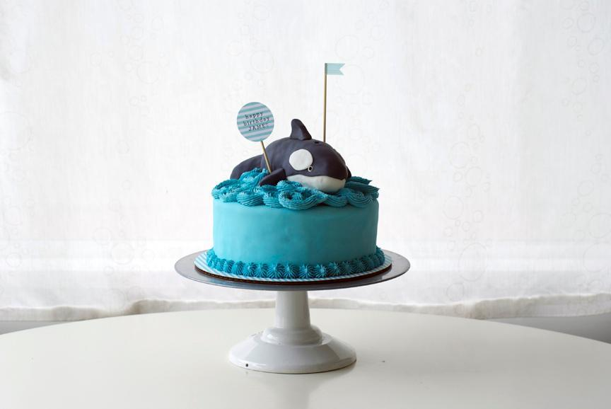 Blue Cake Topped with Fondant Whale