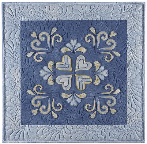 Beautiful Blue Machine Embroidered Quilt