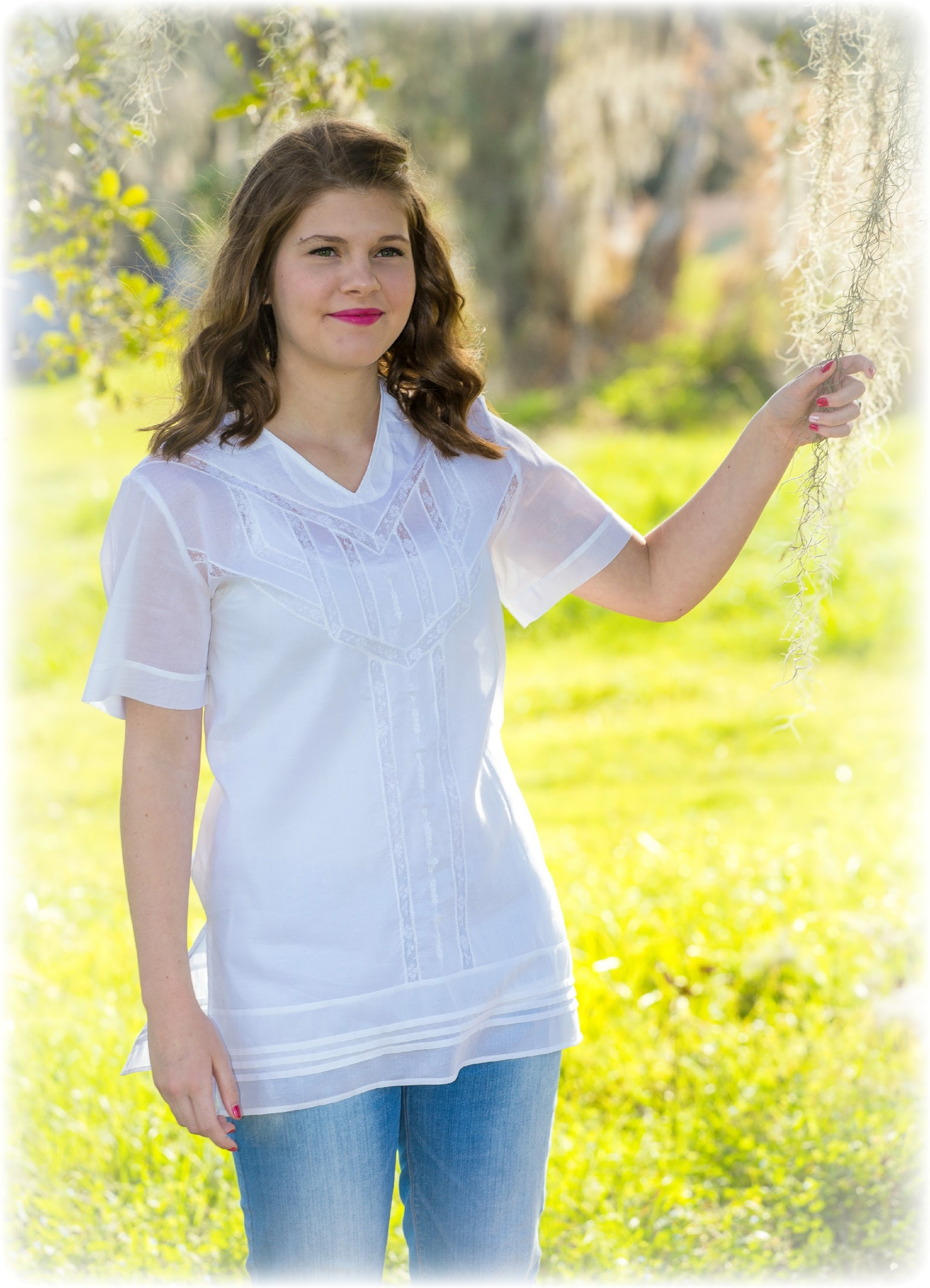 Girl Modeling Embroidered White Top