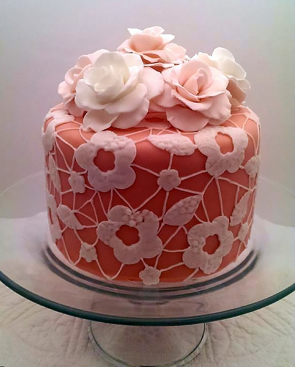 Pink Cake with White Lace and Roses