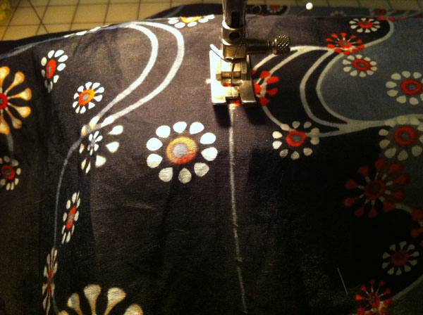 Stitching Caftan on Sewing Machine