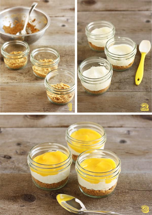 No-Bake Lemon Cheesecakes: Añadiendo galletas Graham y crema