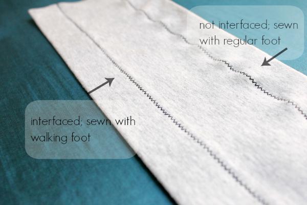 Dobladillo en zigzag para tejido de punto