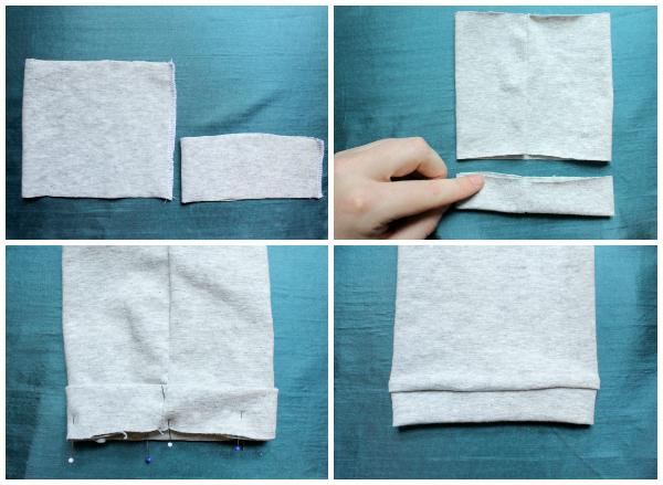 Dobladillo de tejido de punto con bandas de tela