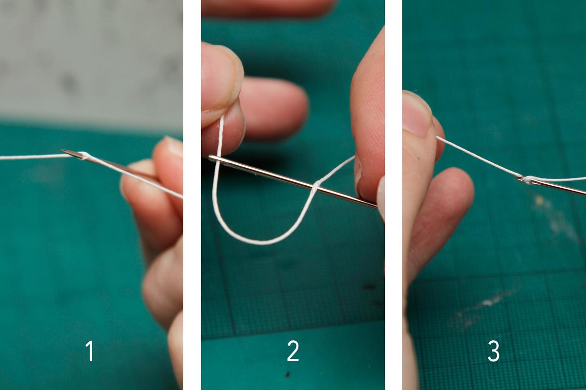 DIY Sketchbook enhebrando la aguja