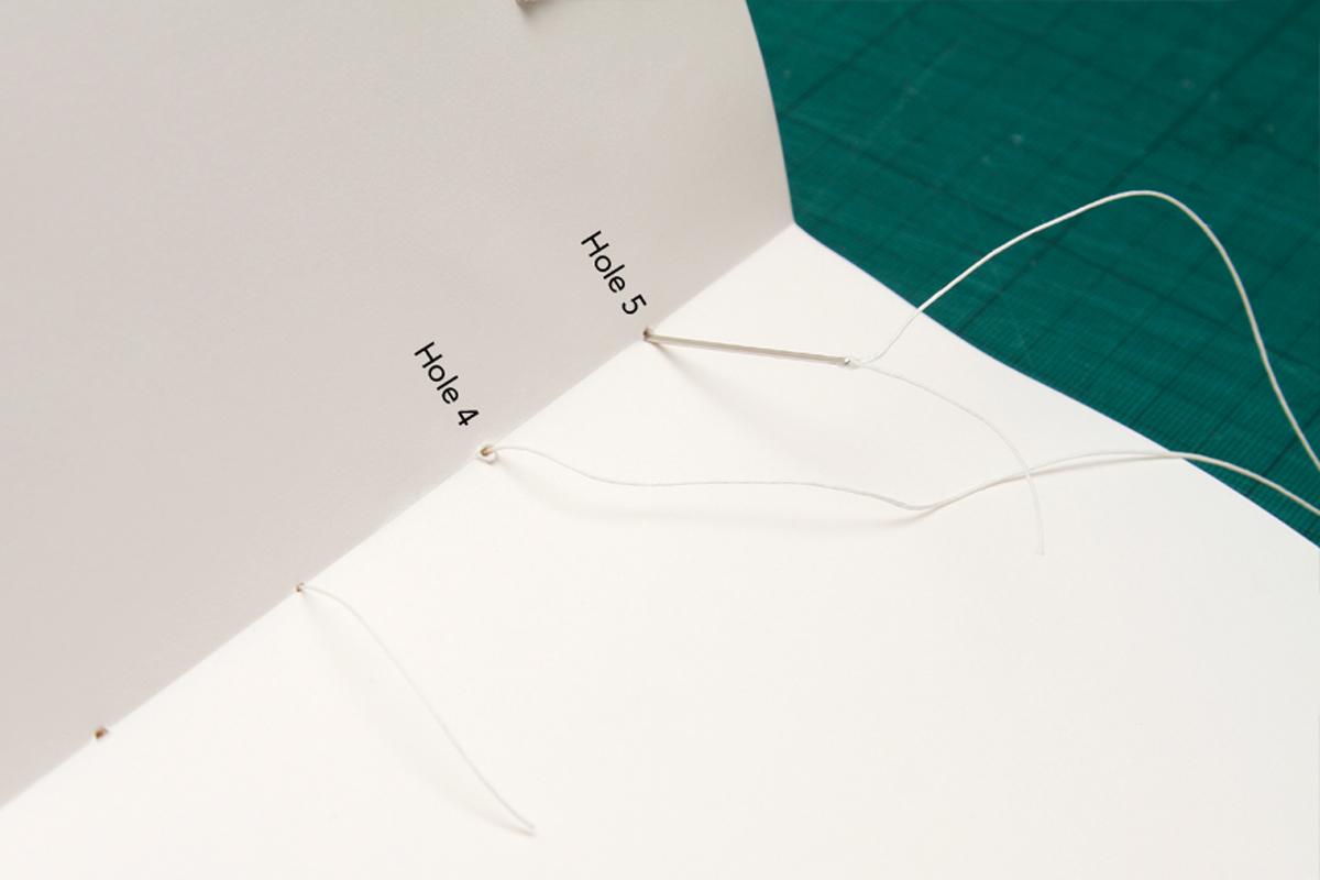 Costura del cuaderno de bocetos DIY
