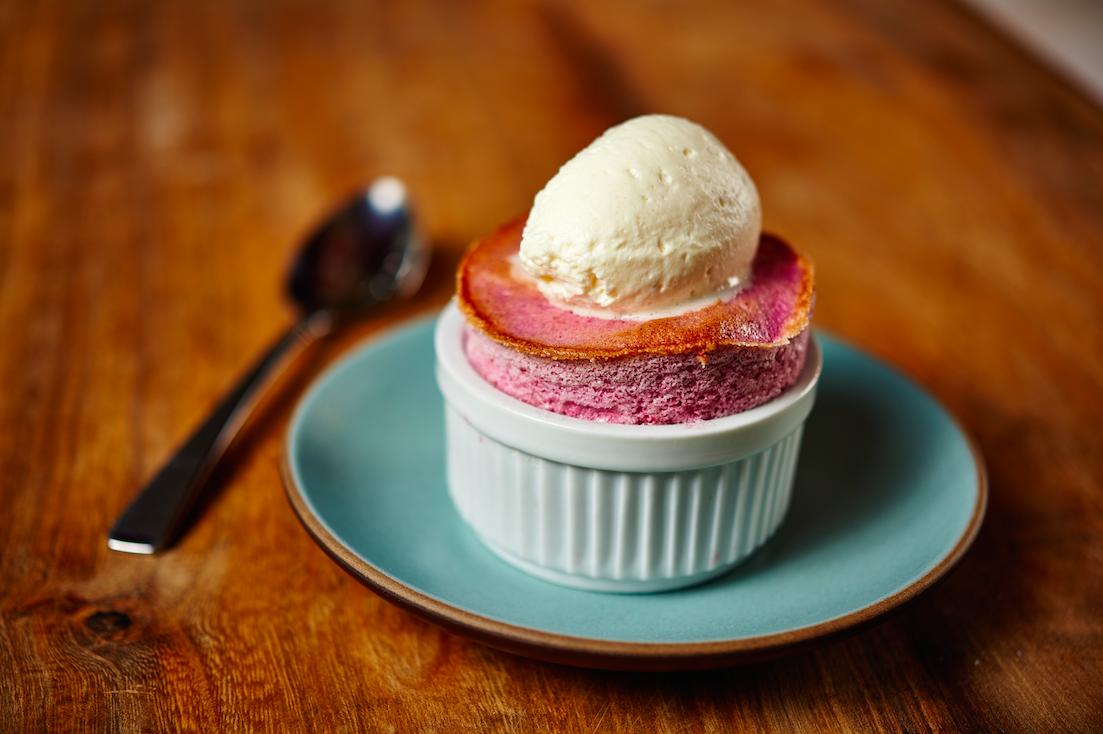 Receta de suflé de frambuesa con crema de Cointreau