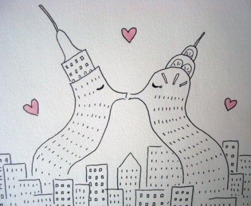 Edificios enamorados