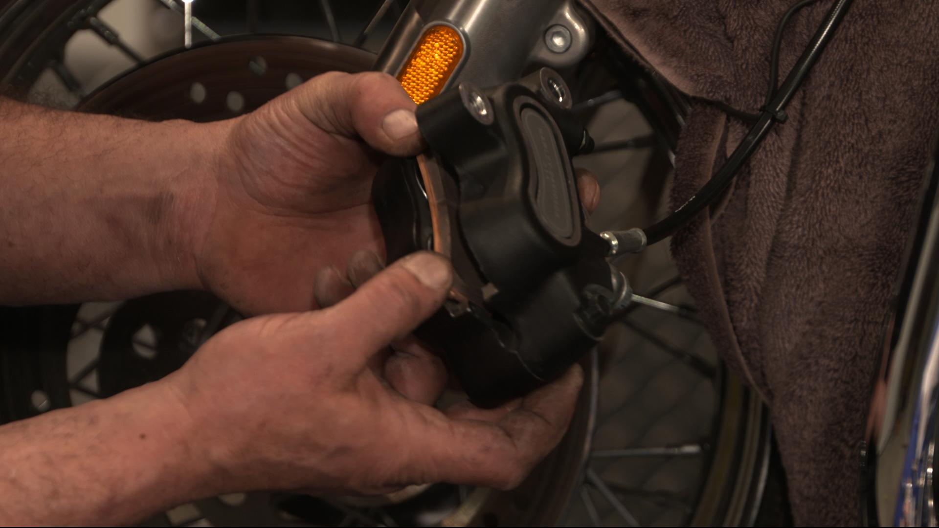 Harley Davidson Brake Pads Change on Front Brakes on a Twin Cam 103