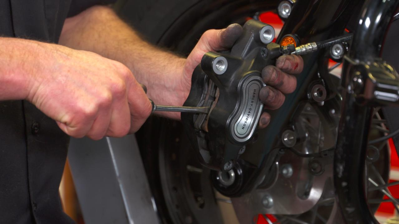 Harley Front Brake Pad Inspection and Replacement