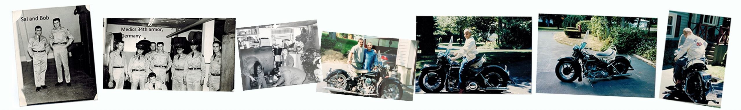 collage strip of old Harley Photos