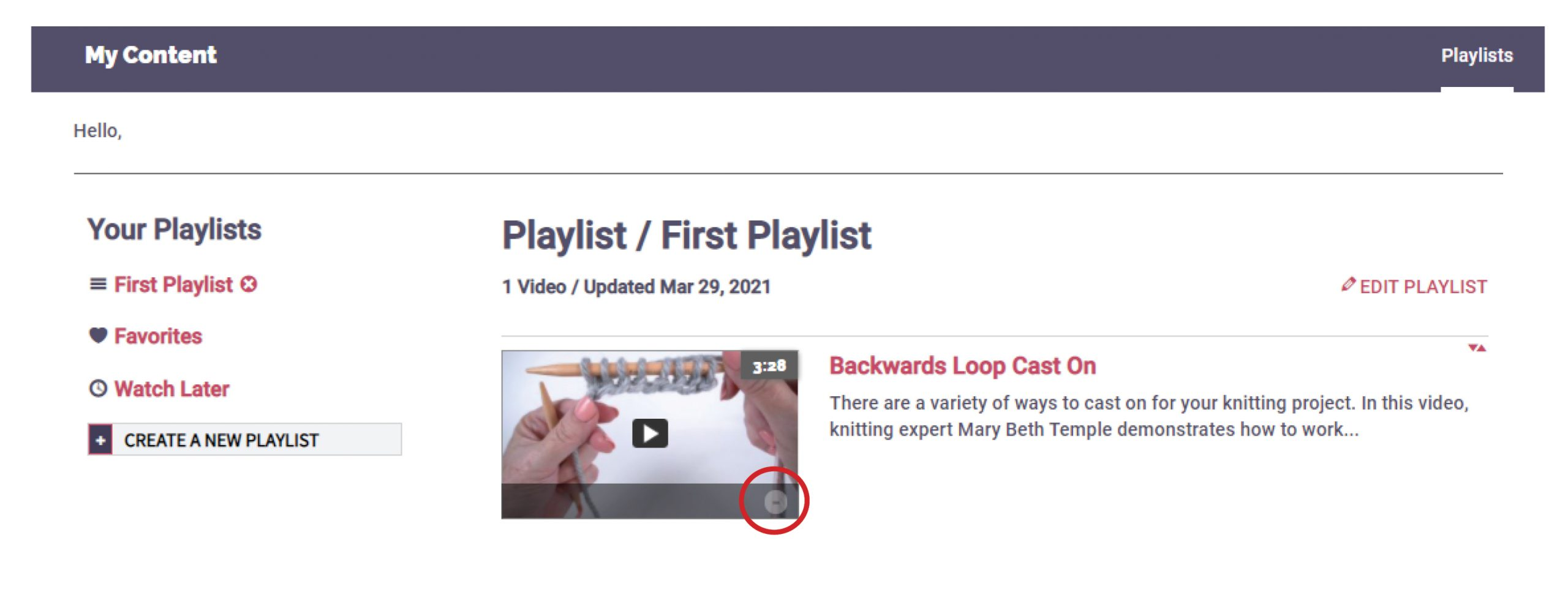 Remove a Video from a Playlist
