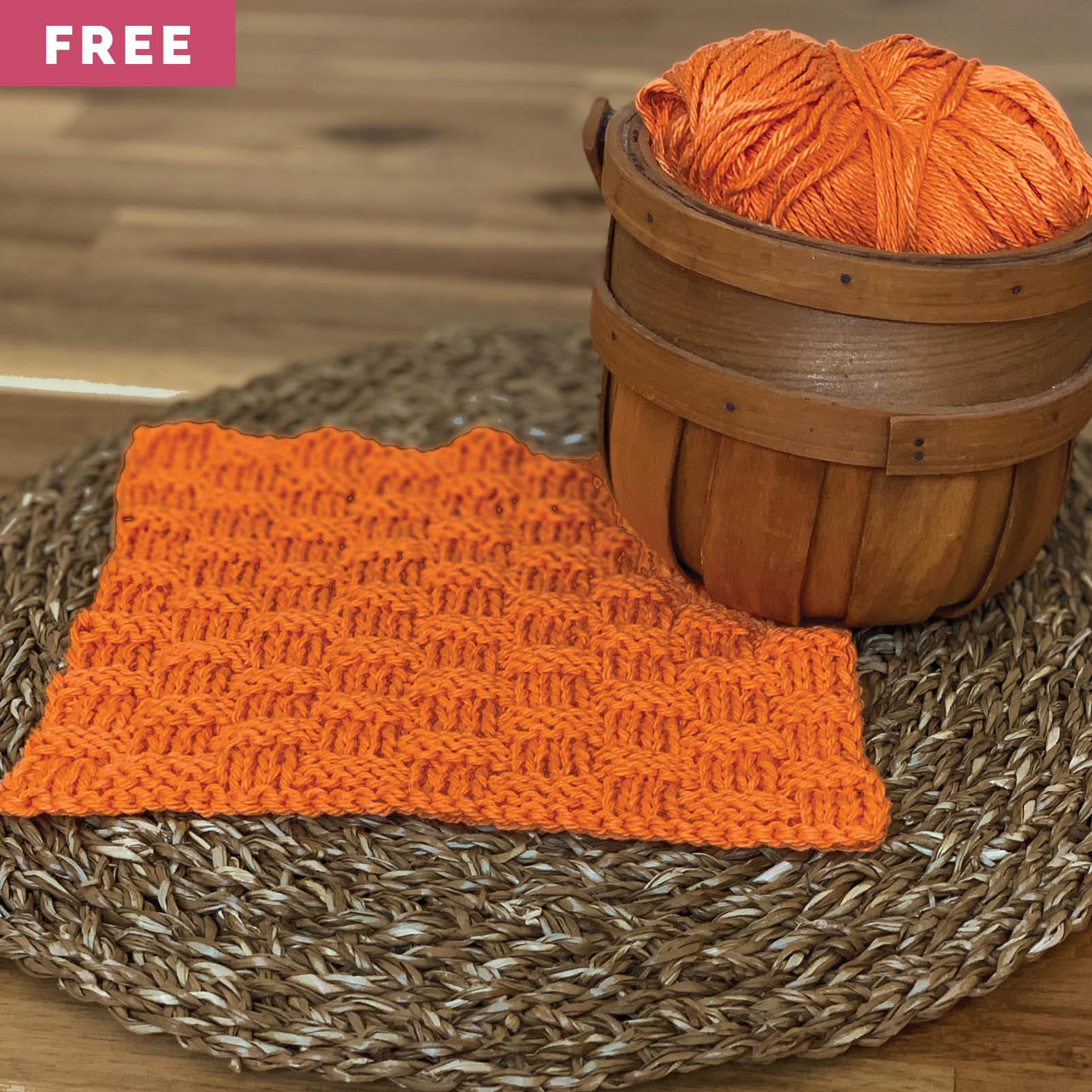 Free Knitting Pattern - Basket Weave Dishcloth