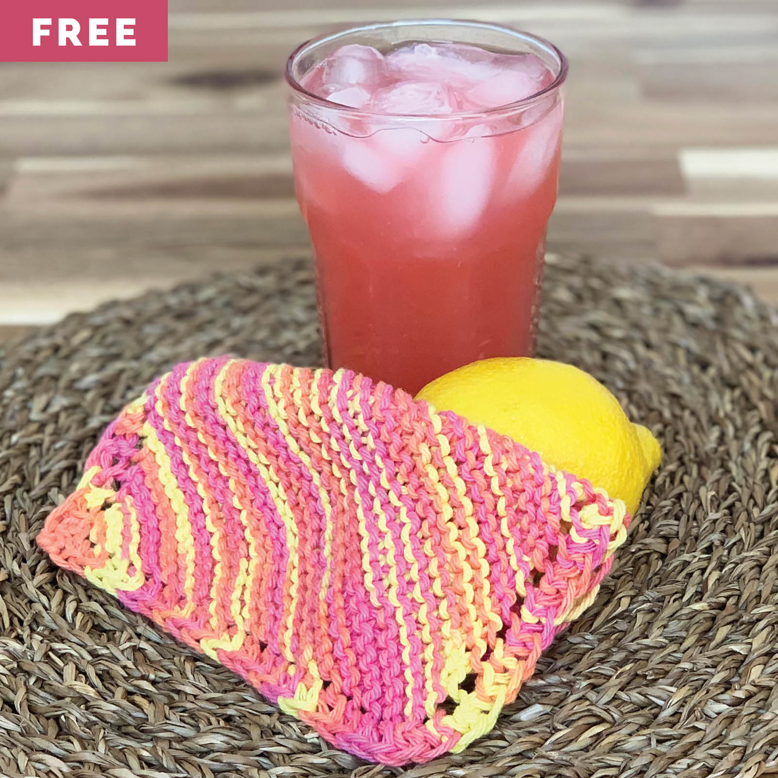 Free Knitting Pattern - Pink Lemonade Dishcloth