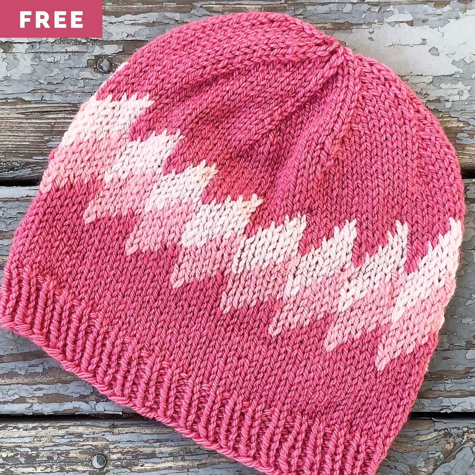 Free Knitting Pattern - Stranded Diamonds Hat