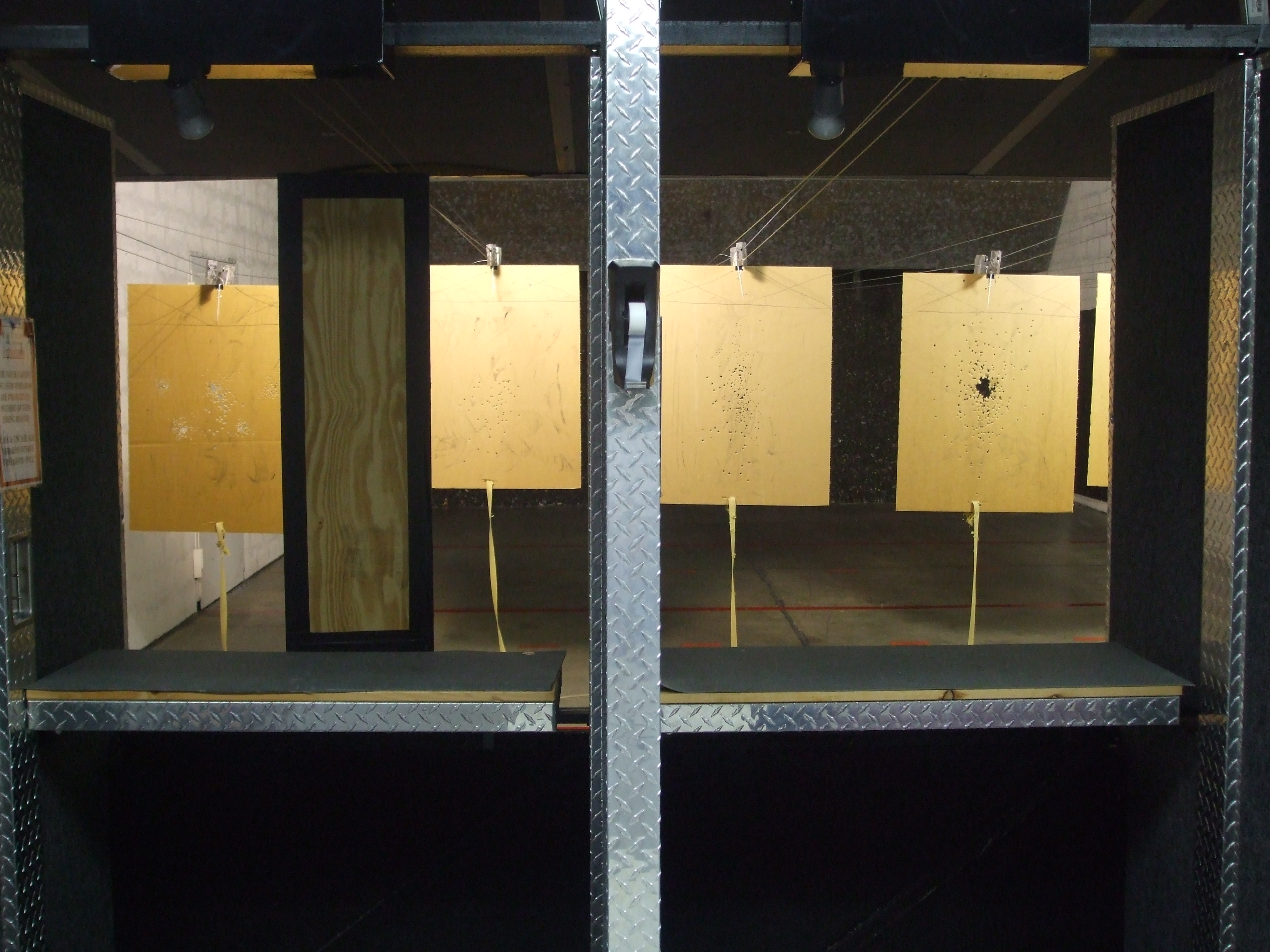 Two firing points, with simple wooden barricade on left.