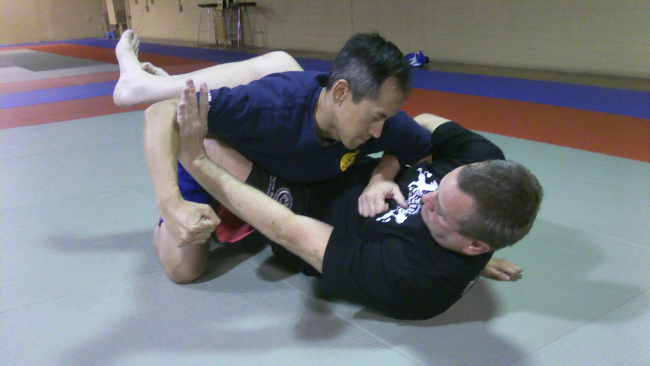 Typical guard position. Where is the opening to punch the groin?