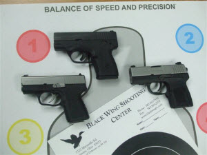 Image of a beretta Nano, Kahr PM9 and SIG Sauer P-290