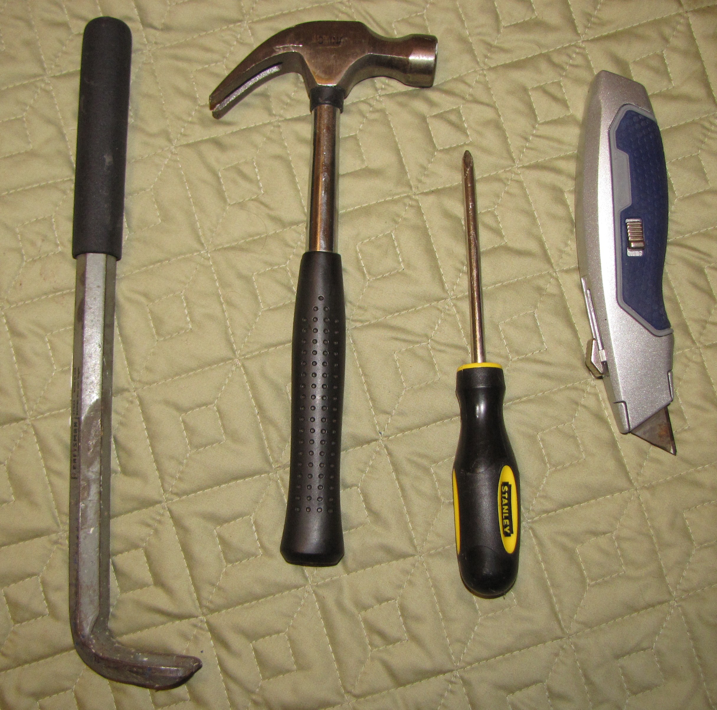 Image of four weapons often used in a robbery