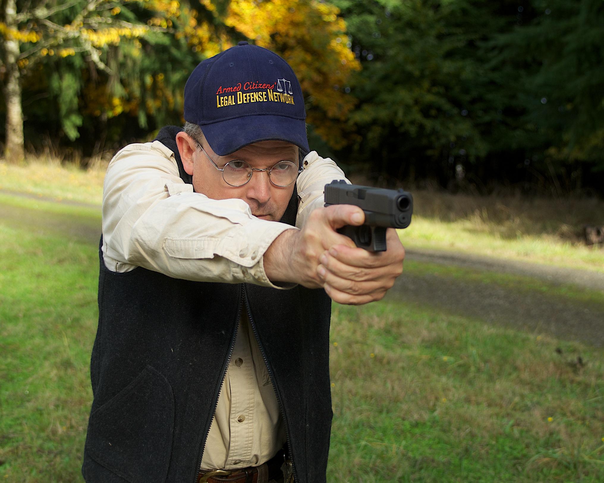 Man demonstrating normal defensive shooting stance