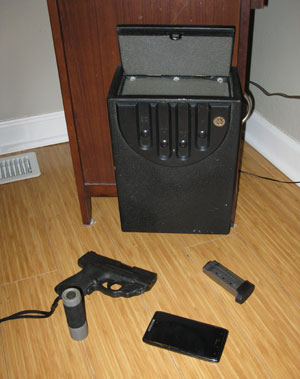 image of a secure home safe that contains defensive equipment - Home Defense Training
