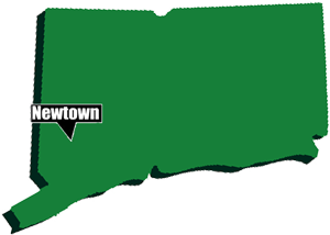 Image of Connecticut state and pointer to Newtown