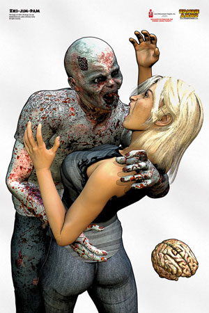 zombie attacking woman