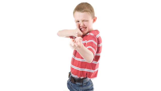 A child's interest in firearms, demonstrated here by pretend play. Photo: Istockphoto.com