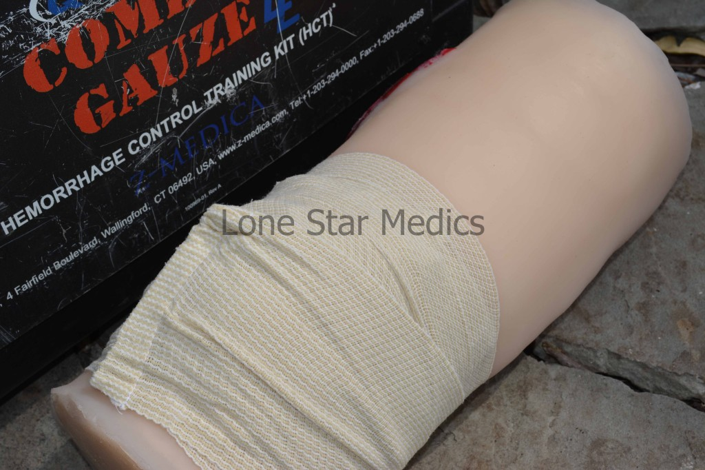 Olaes Modular Bandage has additional bulk gauze inside it. You can use it to pack the wound and then wrap it up tight, as shown here. Wrapping the entire dressing ensures that the bandage is being used to its fullest potential. Photo: author