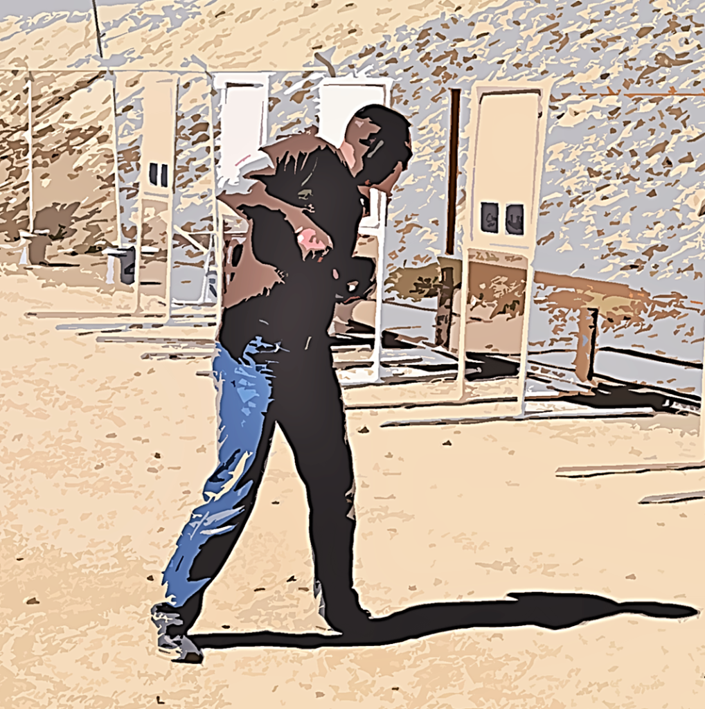 We begin (and continue) our defensive shooting training from a position where the gun is already up and out of the holster. Photo: author