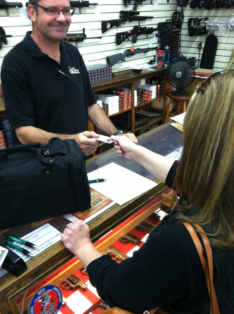 A photo ID and signed liability waiver are required to rent space on a shooting range. Photo: author