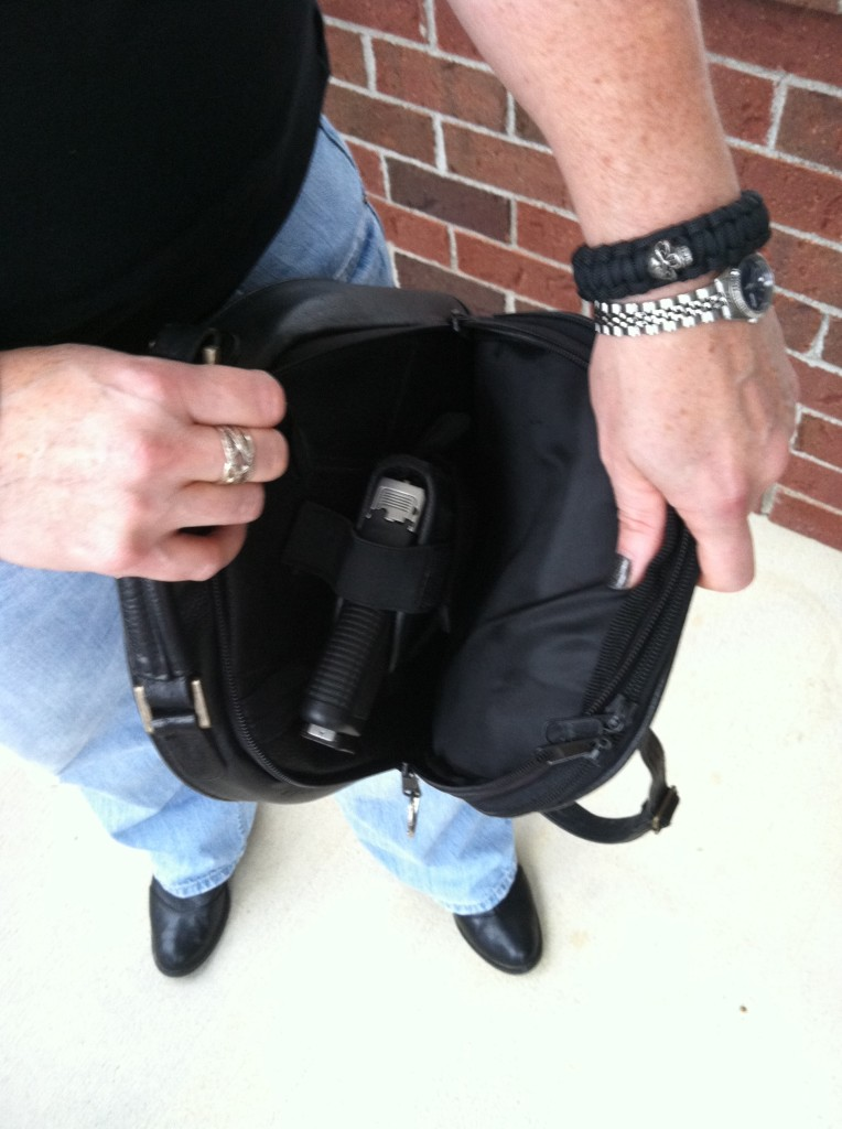 Gun is not easily deployed from purse carry. Photo: author