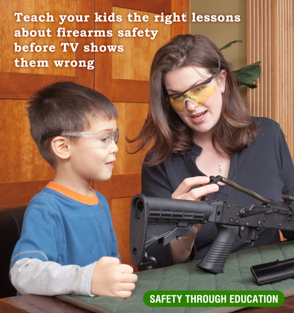 This is an image showing how to teach your kids the right lessons about firearms.