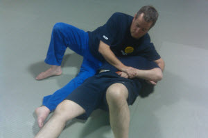 A standard grappling position that puts the top man in perfect position to completely control the bottom person's actions, including denying the weapon draw.