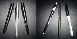 Left: Tactical pens like the Tom Anderson Twister, Greg Lightfoot Timberline, and Smith & Wesson Black Tactical Pen come in a variety of styles and price ranges. Right: Standard pens and Sharpie markers can be found in any big box store.