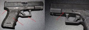 Stippling on key gripping surfaces such as sides of grip frame itself, backstrap, frontstrap, root of trigger guard, and support-side thumb rest/index point on forward frame.